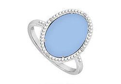 10K White Gold Aqua Chalcedony and Diamond Ring 15.08 CT TGW