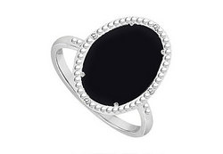 10K White Gold Black Onyx and Diamond Ring 15.08 CT TGW