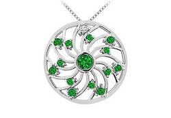 Emerald and Diamond Pendant : 14K White Gold - 0.75 CT TGW