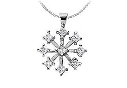 Diamond Flower Pendant : 14K White Gold - 1.00 CT Diamonds