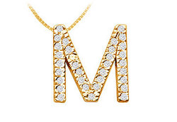 Classic M Initial Diamond Pendant : 14K Yellow Gold - 0.50 CT Diamonds