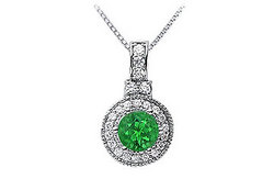 Emerald and Diamond Pendant : 14K White Gold - 1.50 CT TGW