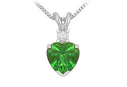 Diamond and Emerald Solitaire Pendant : 14K White Gold - 1.00 CT TGW