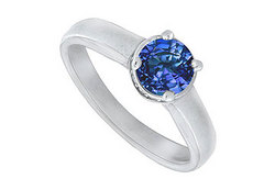 Blue Sapphire and Diamond Engagement Ring : 14K white Gold – 1.15 CT TGW