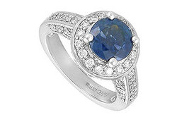 Sapphire and Diamond Engagement Ring in 14K White Gold 4.00 CT TGW