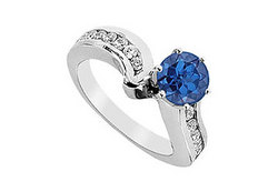 Sapphire and Diamond Engagement Ring in 14K White Gold 1.50 CT TGW