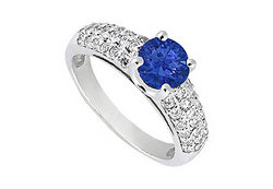 Sapphire and Diamond Engagement Ring in 14K White Gold 1.50 TGW
