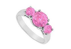 10K White Gold Created Pink Sapphire Three Stone Ring 1.25 CT TGW