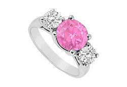 10K White Gold Created Pink Sapphire and Cubic Zirconia Three Stone Ring 3.00 CT TGW