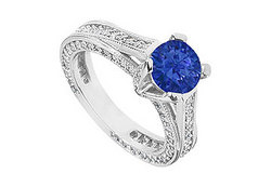 Sapphire and Diamond Engagement Ring in 14K White Gold 2.50 CT TGW