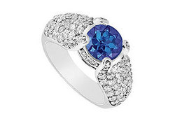 Sapphire and Diamond Engagement Ring in 14K White Gold 2.00 CT TGW