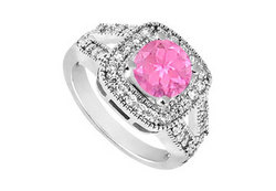 10K White Gold Created Pink Sapphire and Cubic Zirconia Engagement Ring 1.25 CT TGW