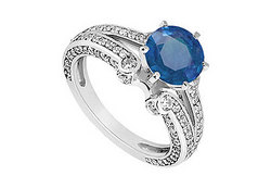 Sapphire and Diamond Engagement Ring in 14K White Gold 1.75 CT TGW