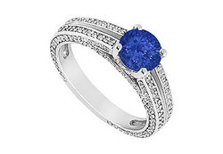 Sapphire and Diamond Engagement Ring in 14K White Gold 3.00 CT TGW