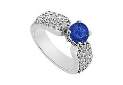Sapphire and Diamond Engagement Ring in 14K White Gold 2.00 CT Diamonds