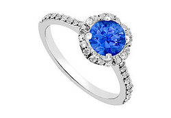 Sapphire and Diamond Engagement Ring in 14K White Gold1.35 CT TGW
