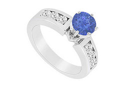 Sapphire and Diamond Engagement Ring in 14K White Gold 1.00 CT TGW