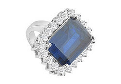 Diffuse Sapphire and Cubic Zirconia Ring : 14K White Gold - 9.50 CT TGW