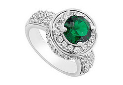 Frosted Emerald and Cubic Zirconia Ring : 10K White Gold - 2.50 CT TGW