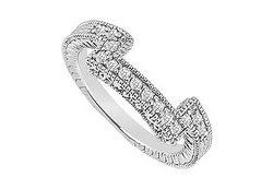 Diamond Prong Set Wedding Band 14K White Gold 0.25 CT Diamonds