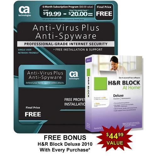 CA AntiVirus Plus Software - 6 Month Sub. w/ Bonus H&R Block At Home Deluxe