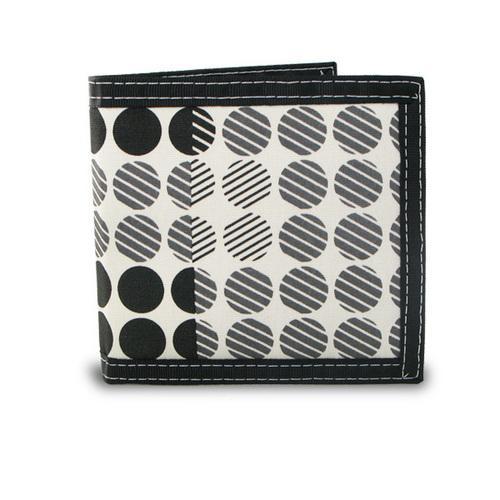 """Men""""s Bifold Screen Print Canvas Dot Pattern Wallet"""