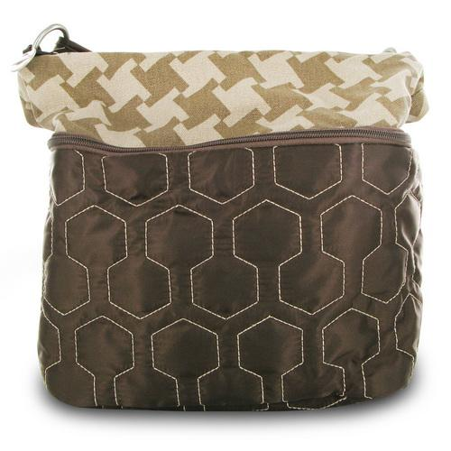 Travelon Quilted Nylon Zip-Top Train Case - Brown/Houndstooth Pattern