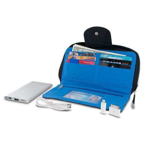 Travelon Hack-Proof RFID Blocking Clutch Wallet w/ 5000mAh Power Bank - Black