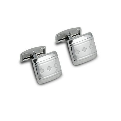 Seville Cuff Links with Triple Diamond Design (Silver)
