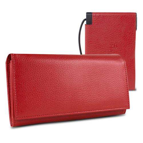 """Halo Women""""s RFID Hack-Proof Power Wallet w/ 3000mAh Power Bank and Cable Red"""