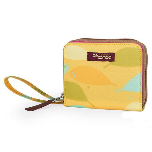 Po Campo Bill Fold Wallet, Yellow Feathers