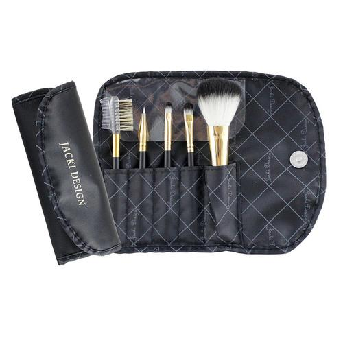 Jacki Design Vintage Allure 5 PC Make Up Brush Set And Bag, Black
