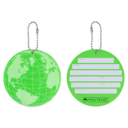 Protege Neon Round EZ ID Luggage Tags, 2 Pack Green