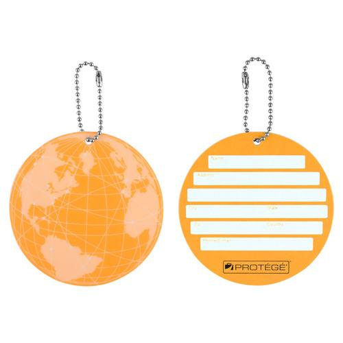 Protege Neon Round EZ ID Travel Baggage Suitcase Luggage Tags - 2 Pack - Orange