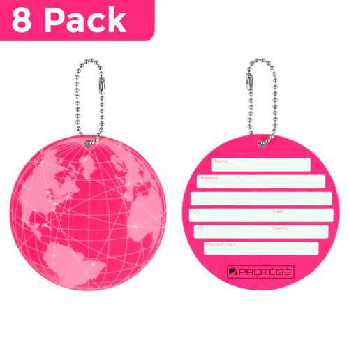 Protege Neon Round EZ ID Luggage Tags, Pink Family Pack (8 Tags)