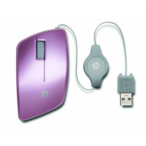HP USB Retractable High-Precision 1000 DPI Mobile Mouse, Pink (Refurbished)
