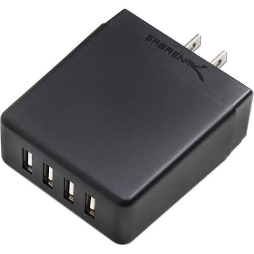 Sabrent 40 Watt 4-Port Rapid USB Wall Charger with Auto Detect Technology