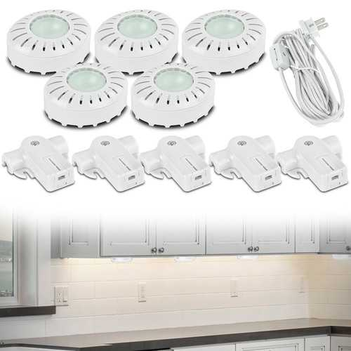 Brilliant Xenon Direct-It Under Cabinet Puck Lights (5-Pack White)