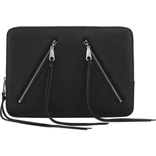 Rebecca Minkoff Moto 13 Sleeve - Black Pebble Leather