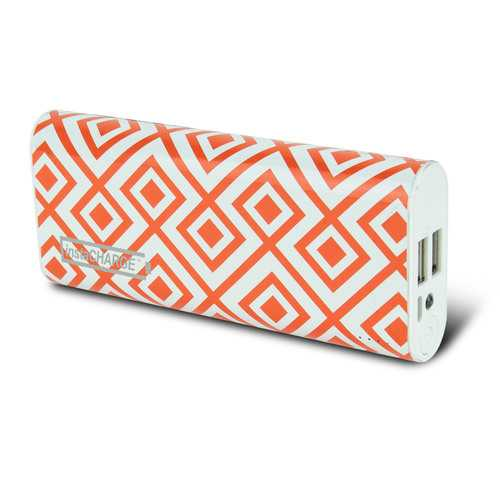 instaCHARGE 8800mAh Dual USB Power Bank Portable Battery Charger Orange Geo
