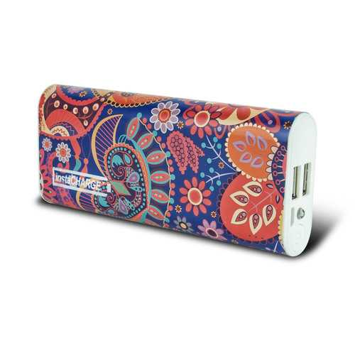 instaCHARGE 8800mAh Dual USB Power Bank Portable Battery Charger Purple Paisley