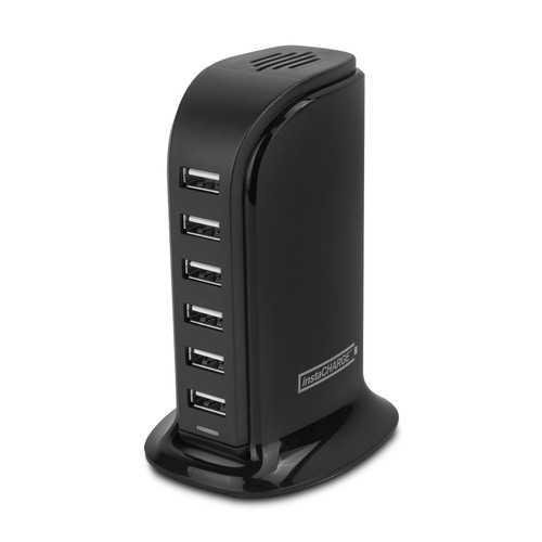 instaCHARGE 6-Port USB Smart Charge Tower + microUSB & Lightning Adapter, Black