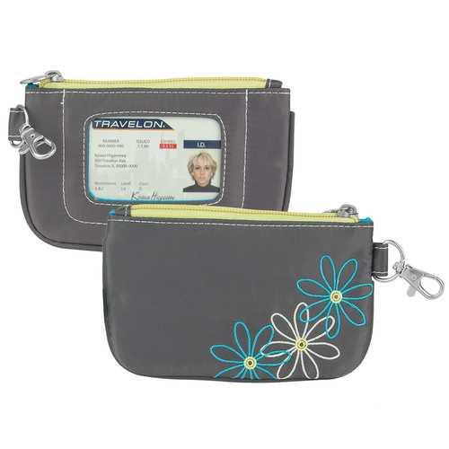 Travelon RFID Blocking Daisy Zip ID Pouch, Pewter