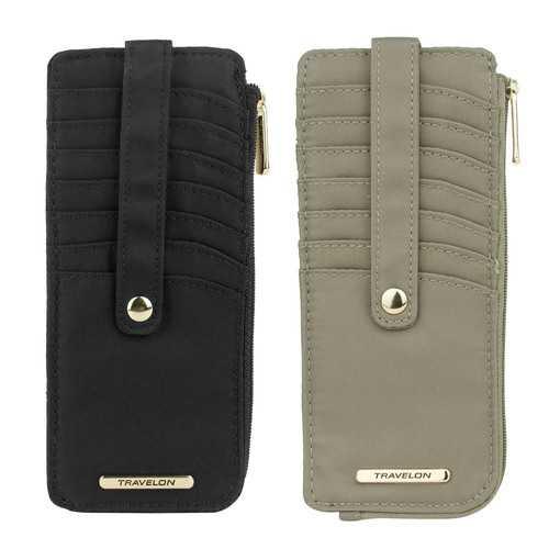 Travelon Set of 2 RFID Anti-Theft Tailored Slim Zip Wallets (Sable & Onyx)