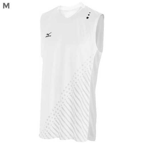"Mizuno DryLite Men""s National VI Sleeveless Jersey, White - M"