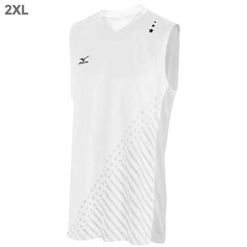 "Mizuno DryLite Men""s National VI Sleeveless Jersey, White - 2XL"