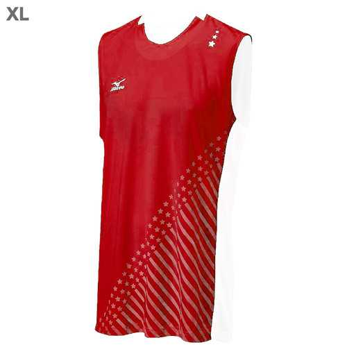 "Mizuno DryLite Men""s National VI Sleeveless Jersey, Red & White - XL"