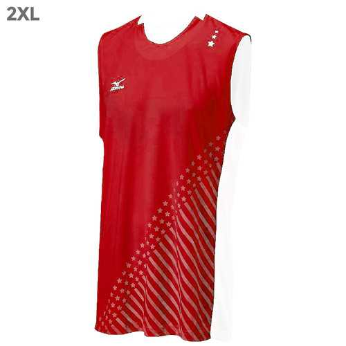 "Mizuno DryLite Men""s National VI Sleeveless Jersey, Red & White - 2XL"