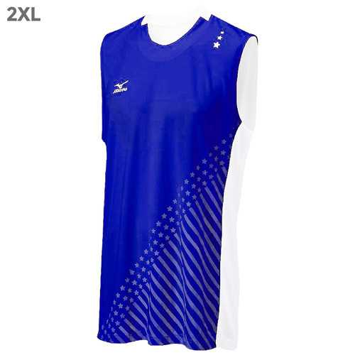 "Mizuno DryLite Men""s National VI Sleeveless Jersey, Royal & White - 2XL"