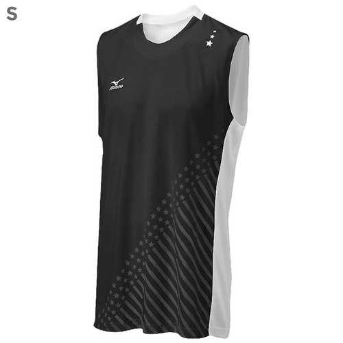 "Mizuno DryLite Men""s National VI Sleeveless Jersey, Black & White - S"
